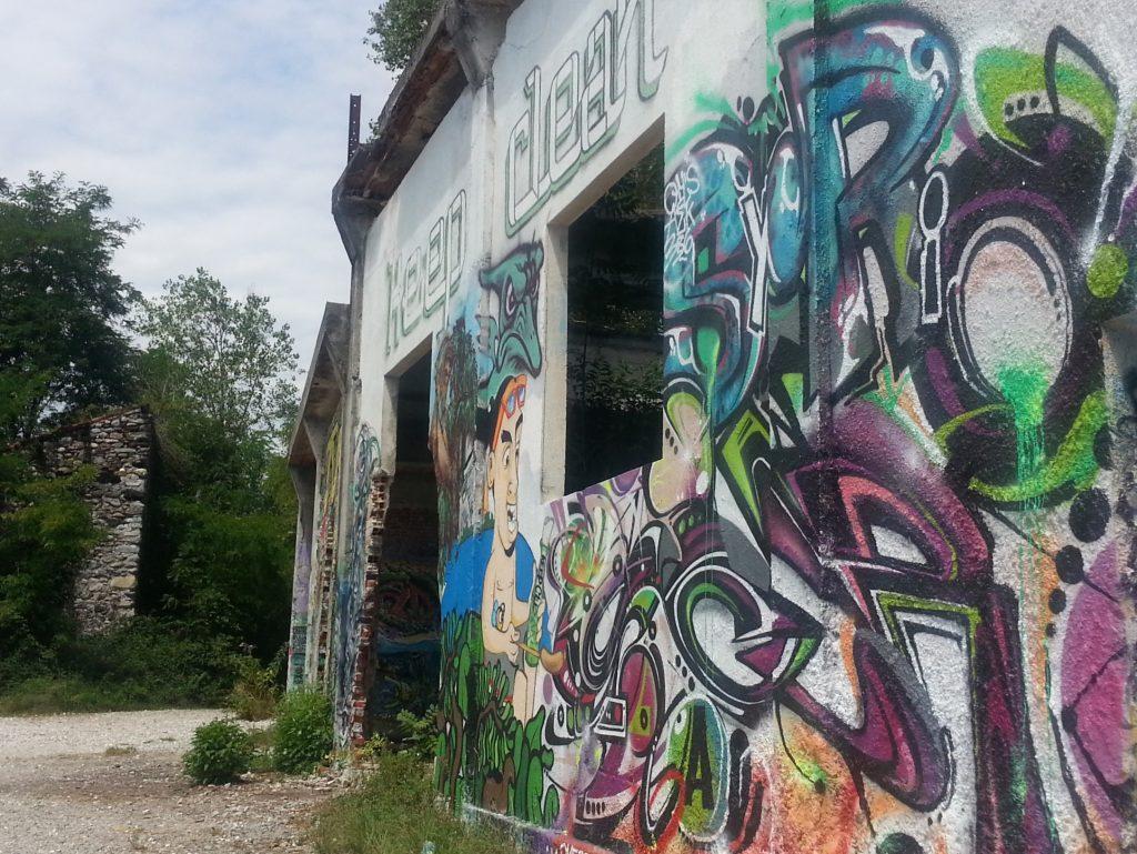 Graffiti covered ruin