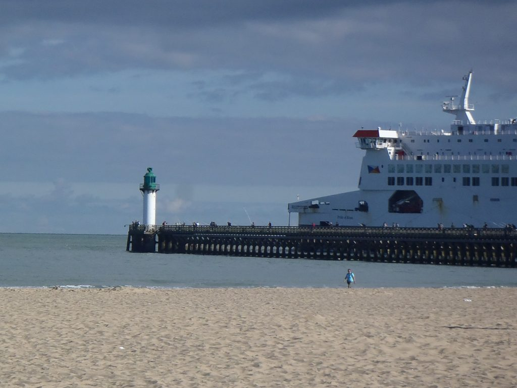 Cruise ship pulling out from the port of Calais