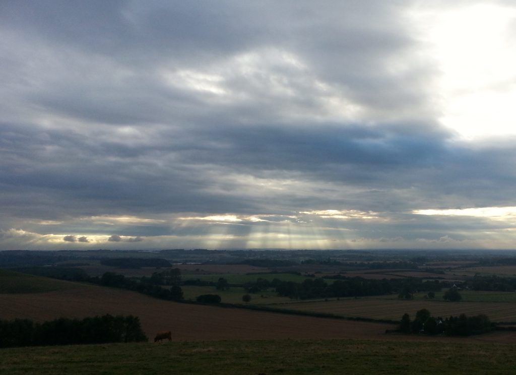 """Fingers of God"" over the Kentish Downs"