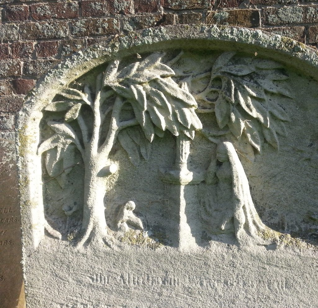 Detail of headstone in St George the Martyr Church, Ramsgate
