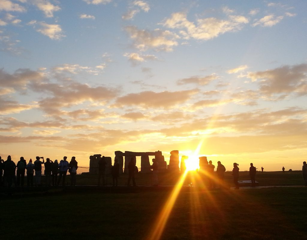 Stonehenge sunset from over the fence