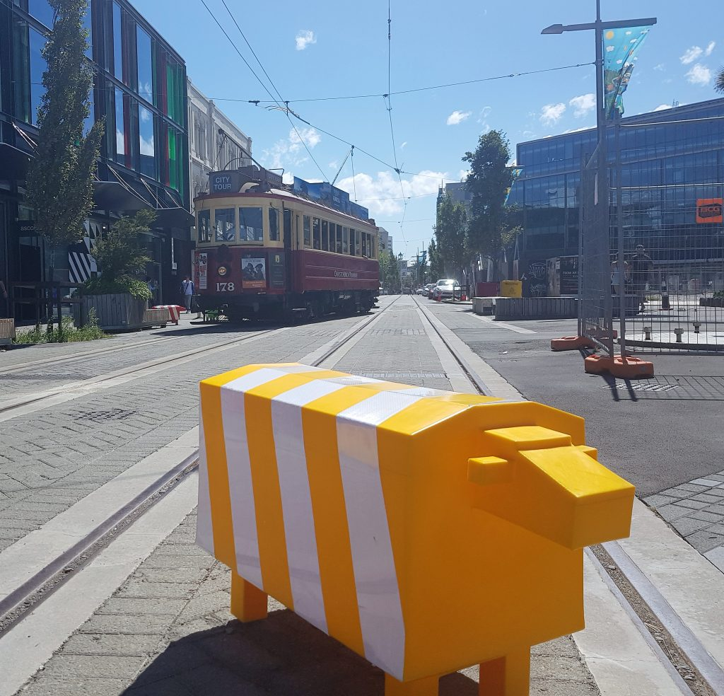 Christchurch tram and plastic sheep