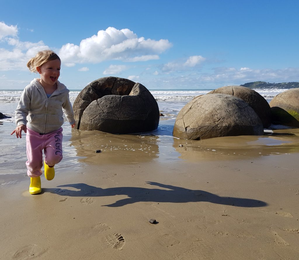 The author's niece, Beverley, exploring the same boulders in 2018