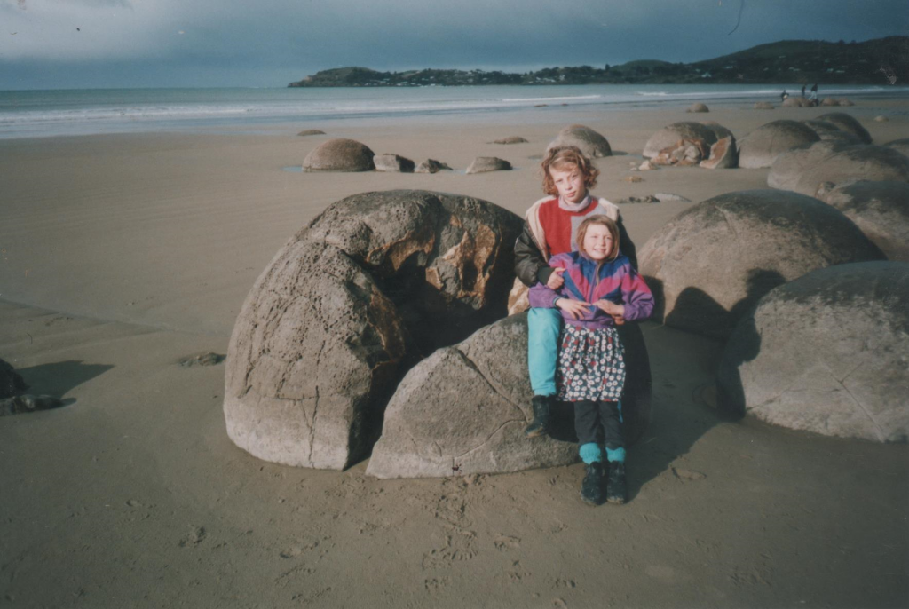 The author and her sister at Moeraki Boulders, 1999