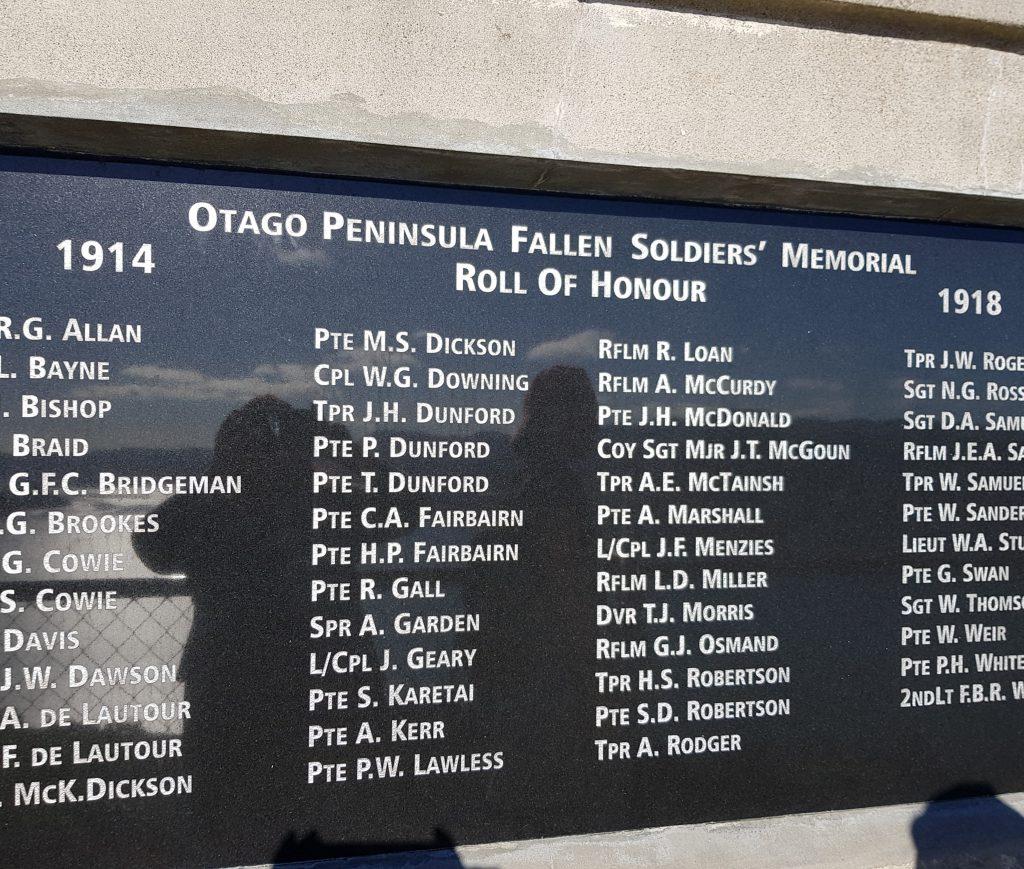 Otago Peninsula Soldiers' Memorial Plaque