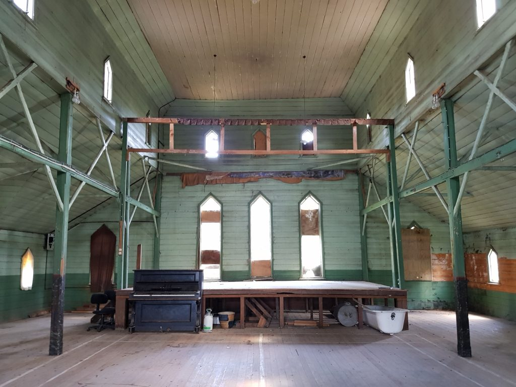 Interior of Lawrence Church Hall and School