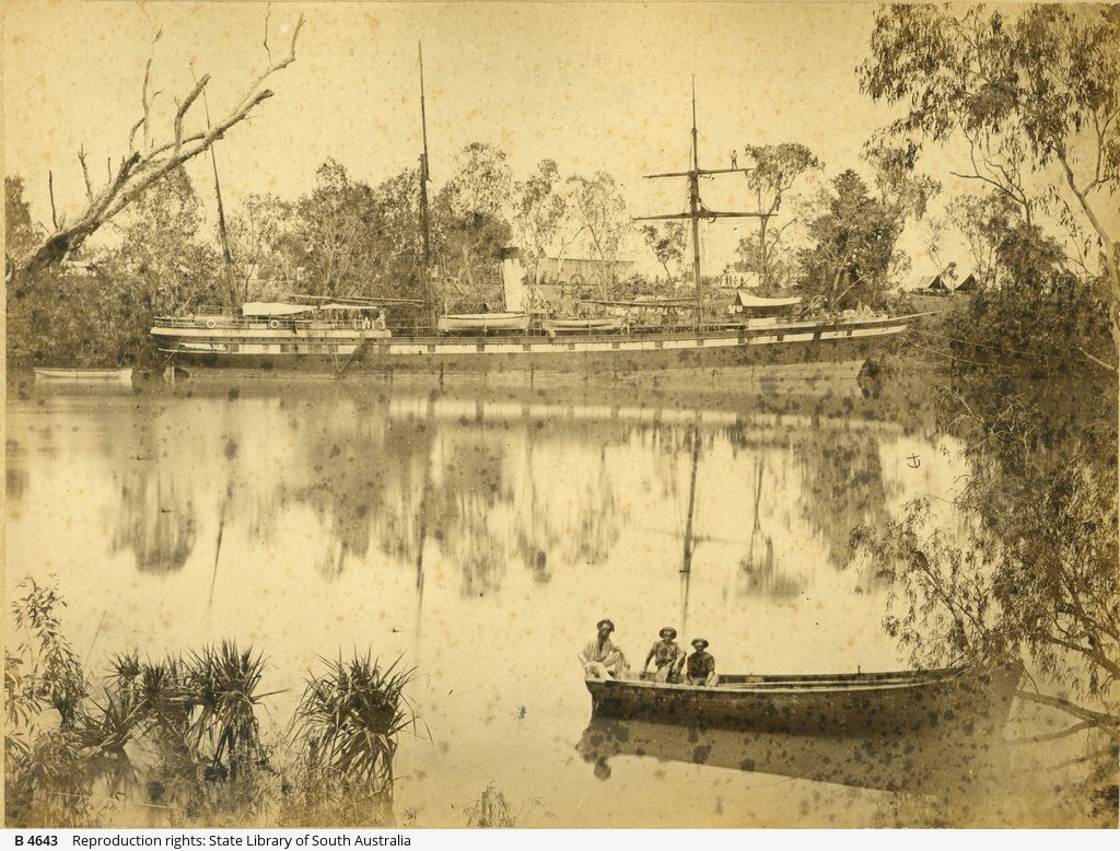 The SS Tararua mored on the Roper River. Source: State Libraray of South Australia [B 4643]