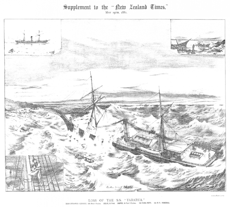 A depiction of the Tararua wreck
