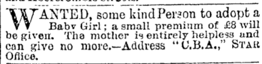 Seeking someone to adopt a baby girl, 1889