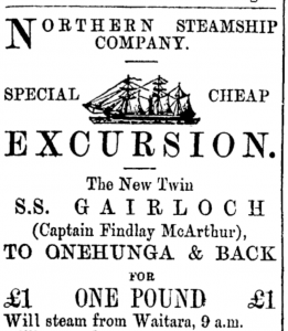 Advertisement for the new steamer. Source: Papers Past