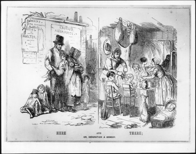 Punch :Here and there; or, emigration a remedy. London, 8 July 1848.. Ref: PUBL-0043-1848-15. Alexander Turnbull Library, Wellington, New Zealand. /records/23241802