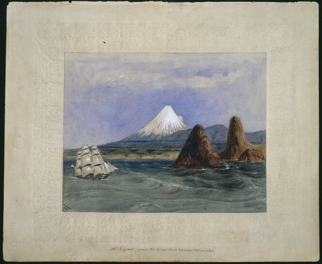 Heaphy, Charles, 1820-1881. Heaphy, Charles, 1820-1881 :Mt Egmont, from the Sugar Loaf Islands, Taranake 1849. Ref: A-145-011. Alexander Turnbull Library, Wellington, New Zealand. /records/22717831