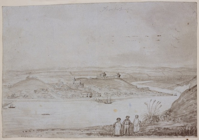 Whanganui in 1848, showing stockades built on the hilltops