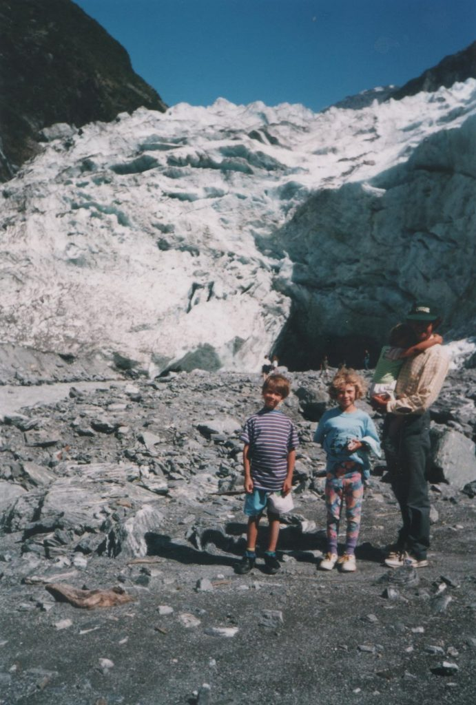 The author and her family at Fox Glacier circa 1993