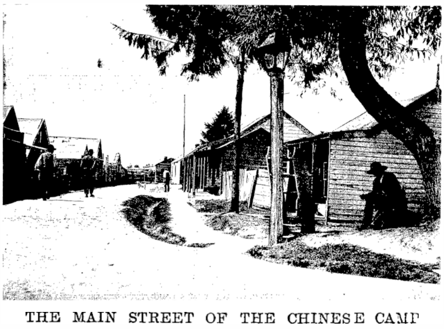 The Chinese Camp in 1904 - Joss House at right front. Source: Papers Past