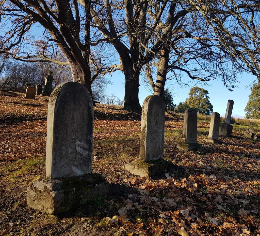 Chinese headstones at Lawrence Cemetery