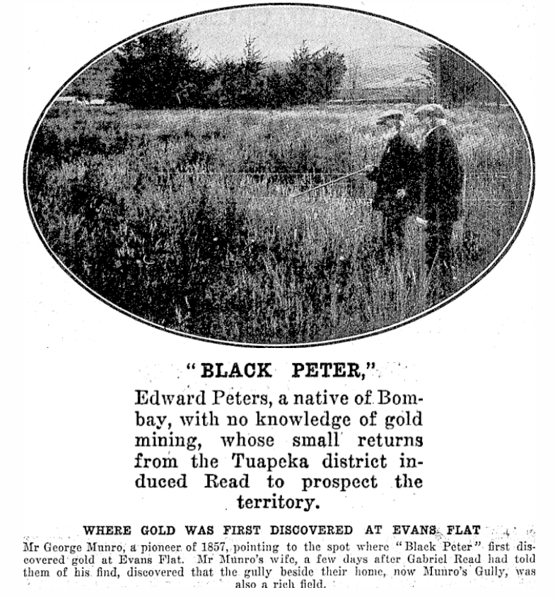 Mr George Munro pointing out the place Black Peter found gold. Source: Papers Past